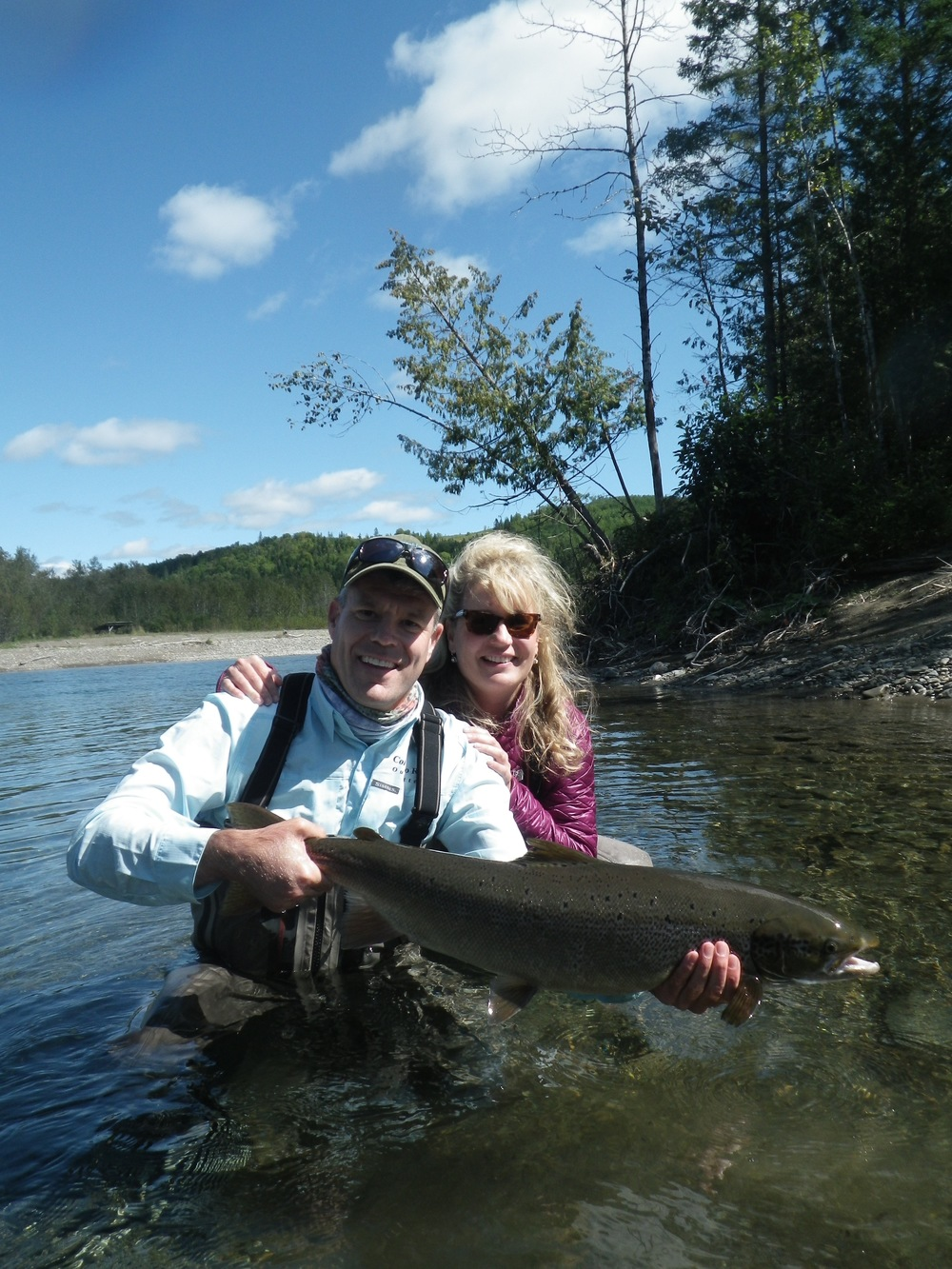 Brian and Pamela came all the way from Texas to catch this fine Atlantic salmon, Congratulations !