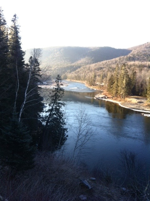 From the deck at Salmon Lodge, the Grand Cascapedia is just starting to show a bit of ice on tits banks.