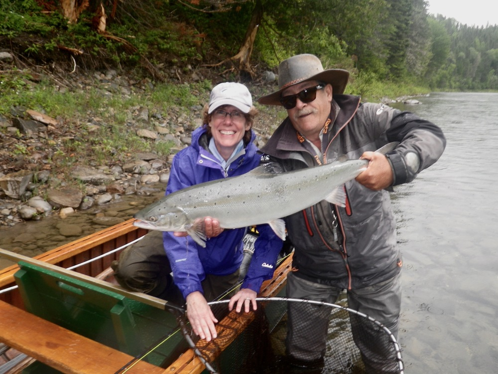 Brooke Katzenbach lands her first Atlantic Salmon withCamp Bonaventure Guide Mario Poirier. Congratulations Brooke! this is your first of many!