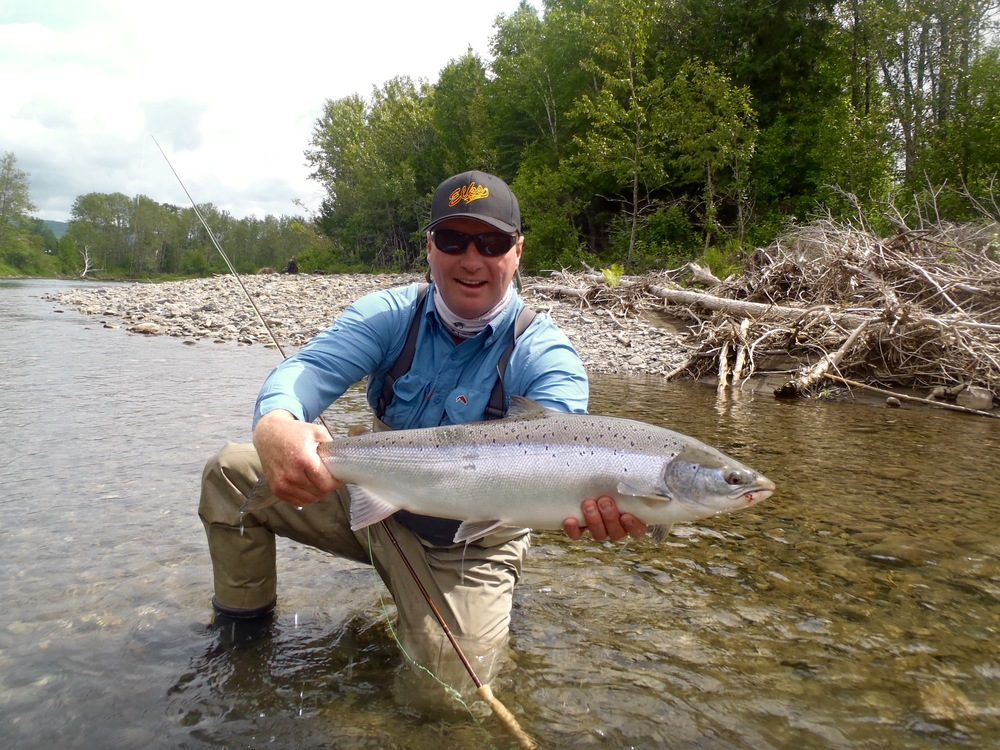 Camp Bonaventure regular Jeff Sullivan with his first salmon of the year, Good fish Jeff!