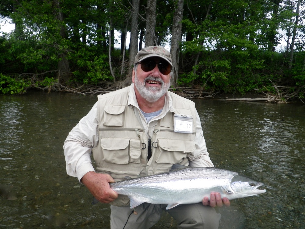 Jim Staszewski with his first salmon of 2016, it certainly wasn't his last. Jim was high rod for the week!