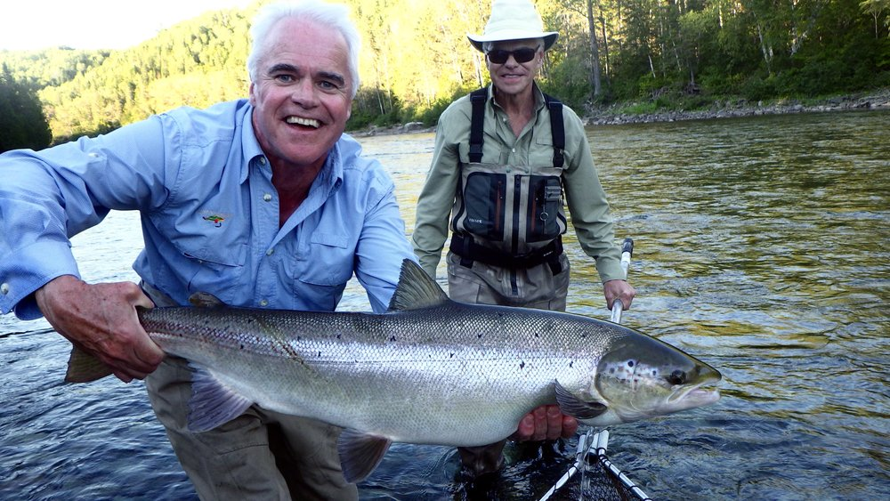 Mac Fox shows off a beautiful September salmon on the Bonaventure, Congratulations Mac! see you next year.