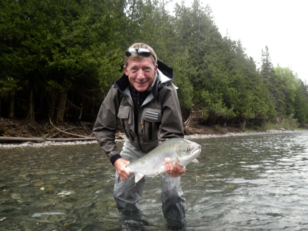John Frost land a fresh run salmon on the Bony, Nice on John!