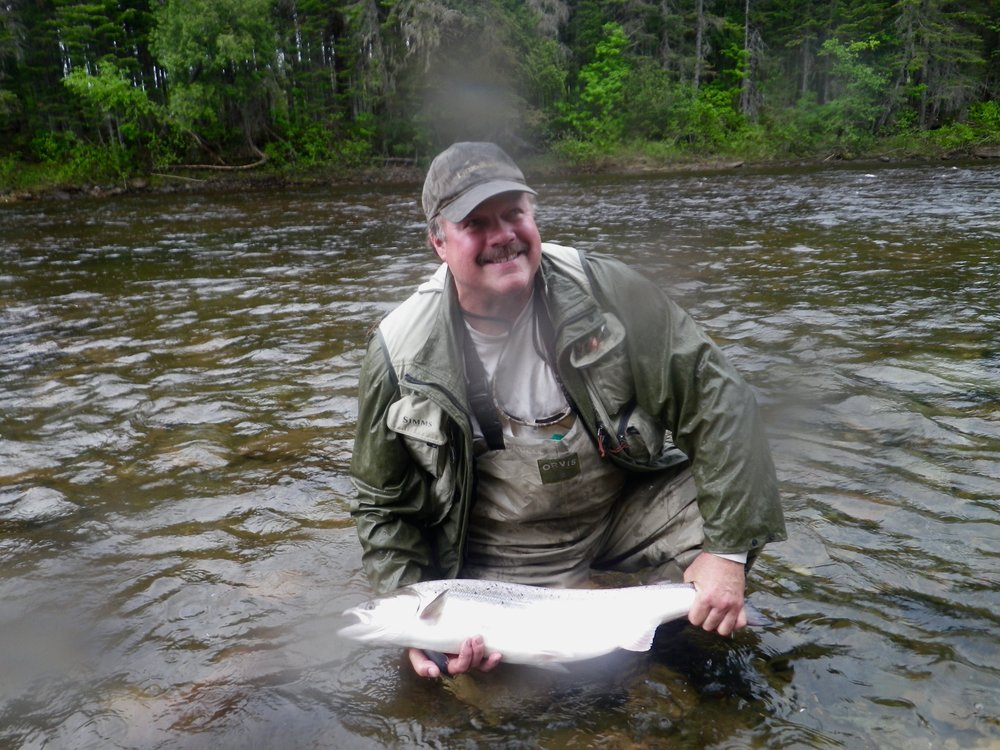 Brian Snow from Fredericton with his first Grand Cascapedia Salmon, Good start Brian.