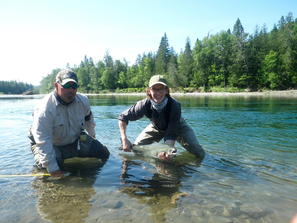 Raphael Vezina (right) and guide John Law with a fine Petite Cascapedua salmon, Nice one Raphael!