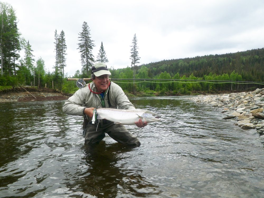 Long time Camp Bonaventure guest Pierre Vezina with a nice fresh run salmon, Nice job Pierre!