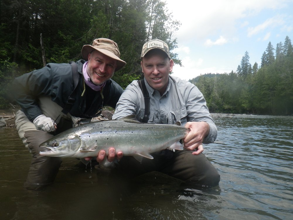 Martin Weaver (right) comes all the way from Argentina each year, a professional guide at Tecka Lodge he's a great fisherman!, nice one Martin