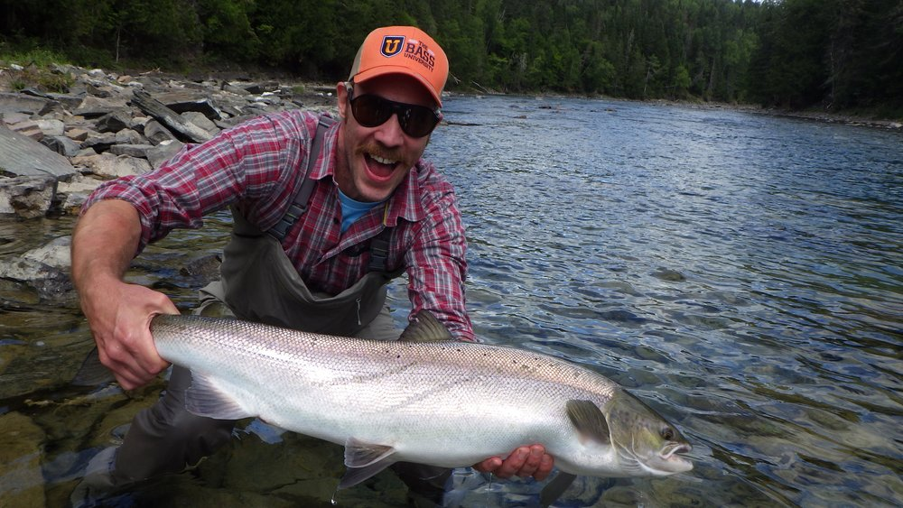 Trevor Prichett was a happy angler on his first trip to Camp Bonaventure and his first Atlantic Salmon, congratulations Trevor !