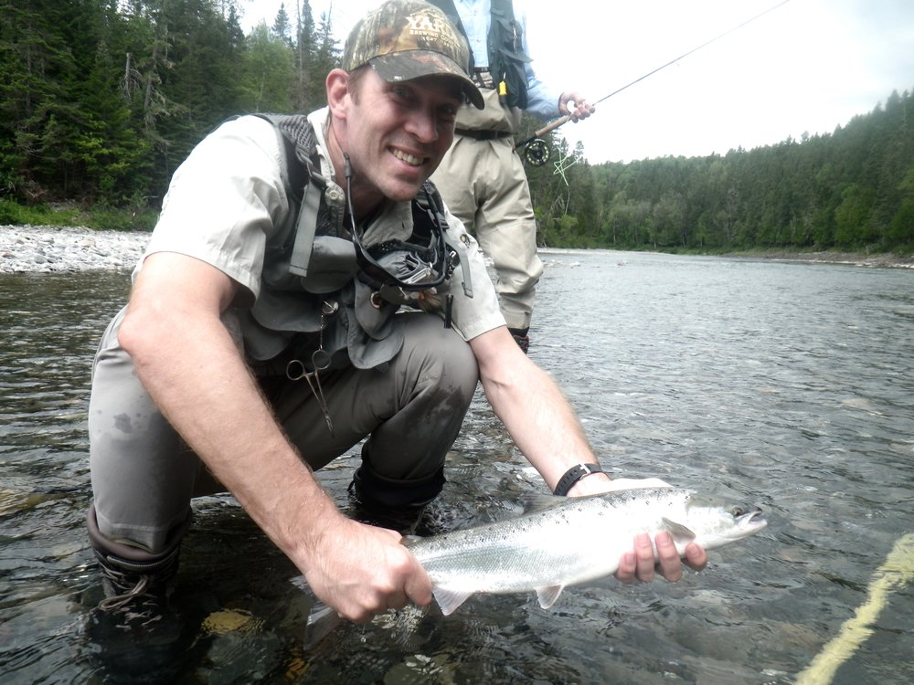 Reid Pritchett with his first Atlantic salmon, way to go Reid! May it be the first of many.