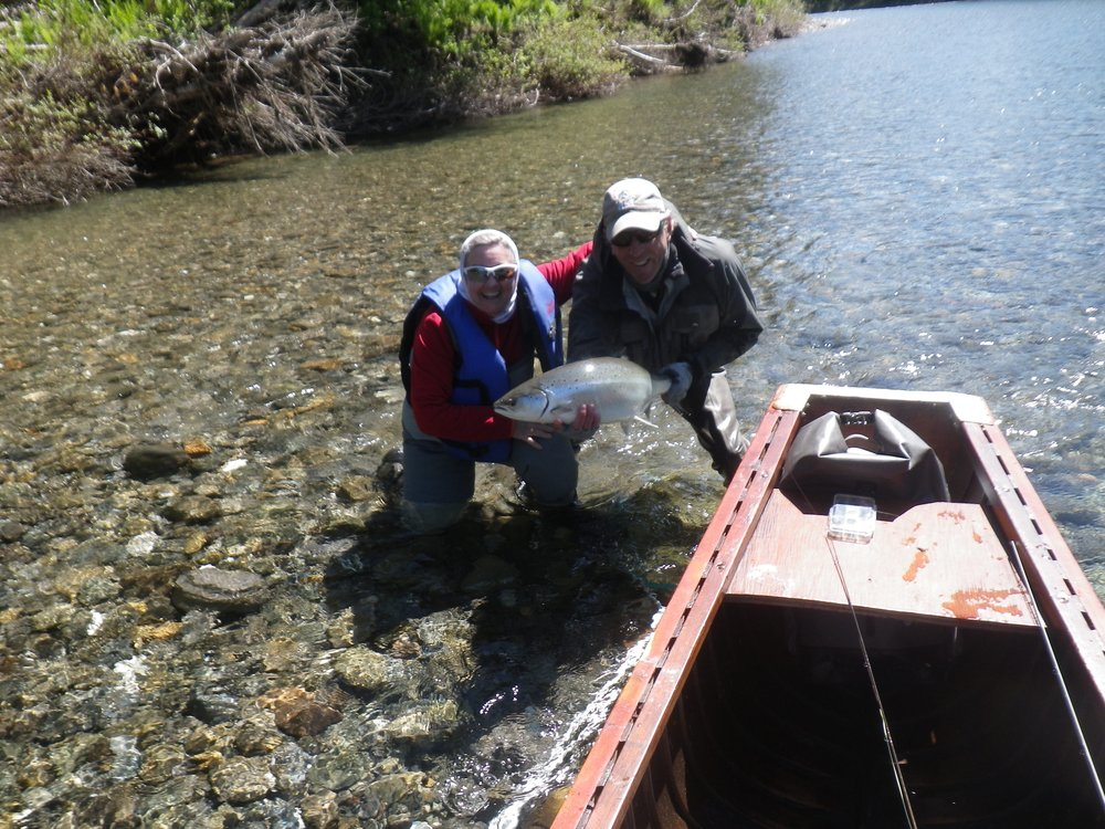 Lios Dyer Mann have been coming to Camp Bonaventure for many years,she is a wonderful and skilled angler, congratulations Lois! Thanks to the skills of guide Marc poirier for knowing exactly where to put the fly!