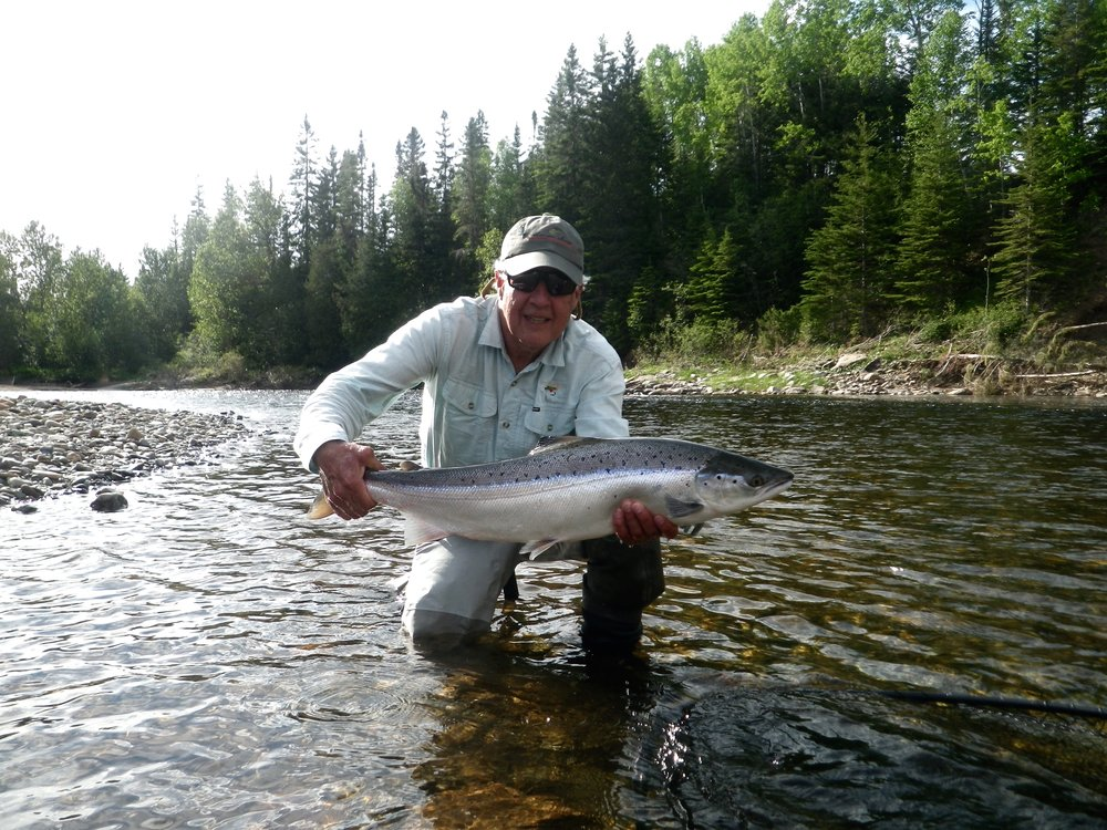 Long time Camp Bonaventure angler Joh Director with his first one of the season, congratulations Jon!