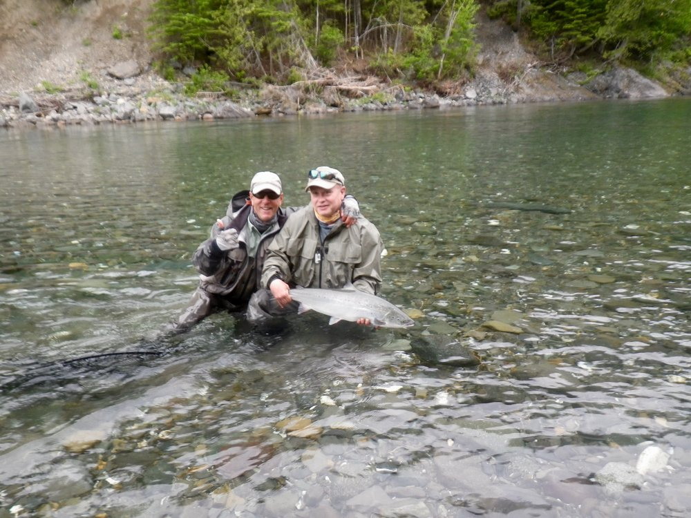 Tom Harkness (right) has been a regular at Camp Bonaventure for over 20 years, he's a great friend to us all. Here's Tom with master guide Marc Poirier with a fine Bonaventure salmon, well done guys!
