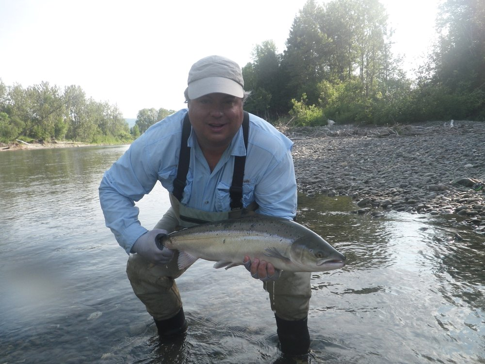 Tom Smith with a fine salmon from the Petite Cascapedia, nice one Tom, well done.