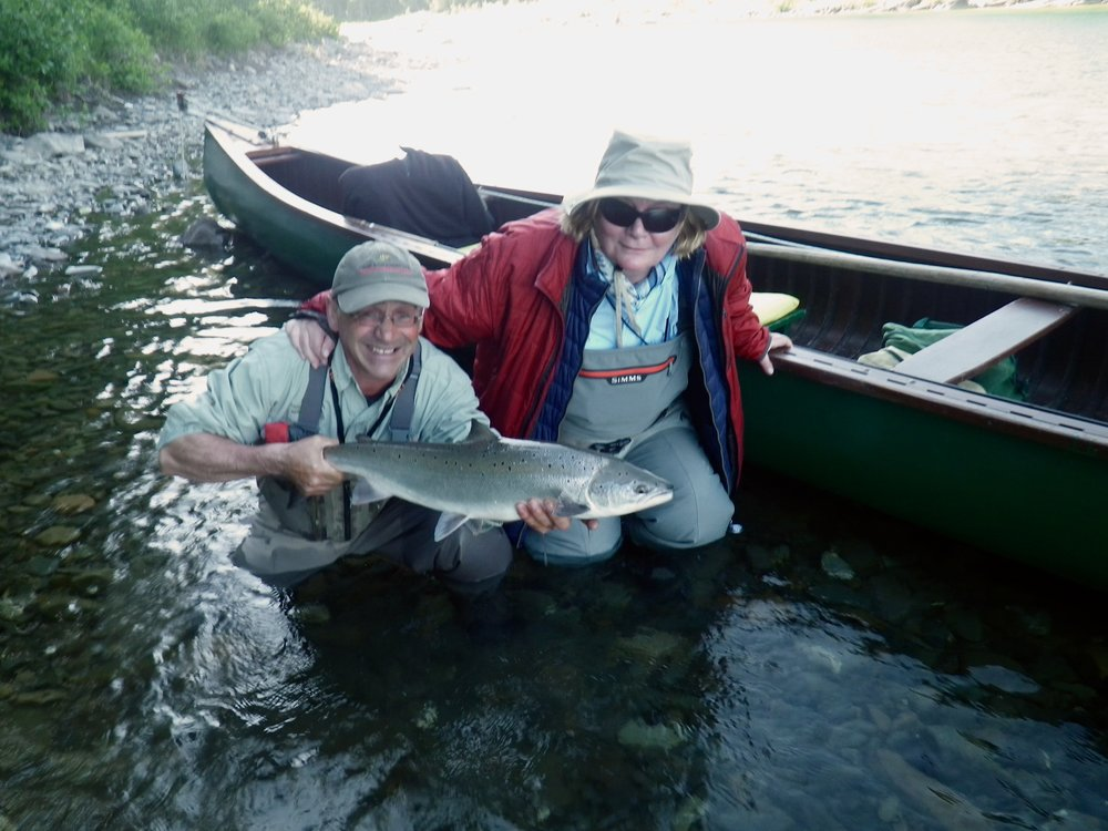 Jacqueline O'Kelley and Camp Bonaventure master guide Carol Barriault with a fresh run Bonaventure salmon, congratulations Jacqueline!