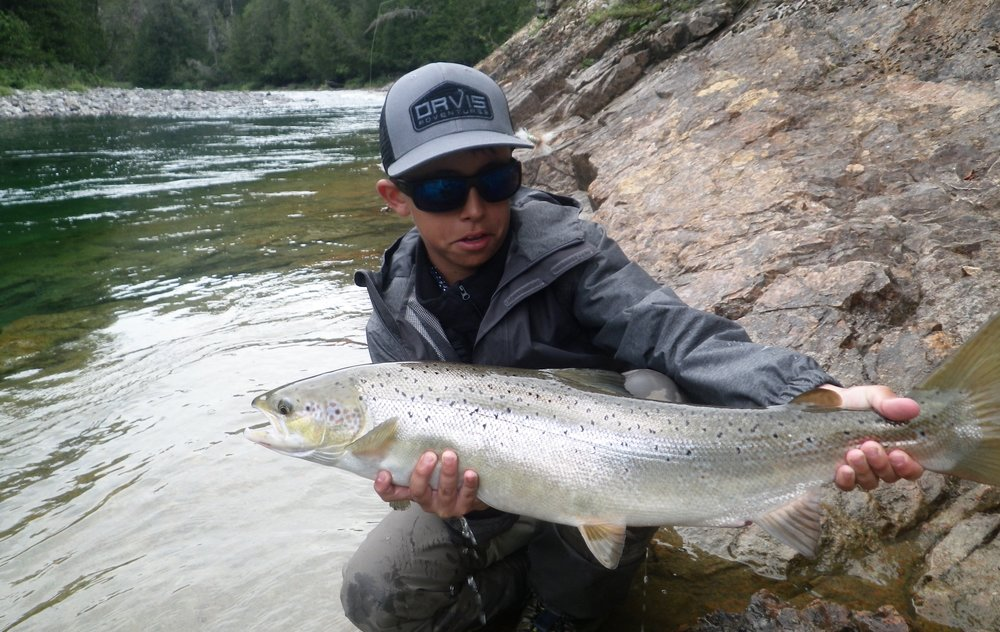 Teo Panzer, with a beauty from the Bony, well done little man! Like his father Pancho, Teo is a great angler.