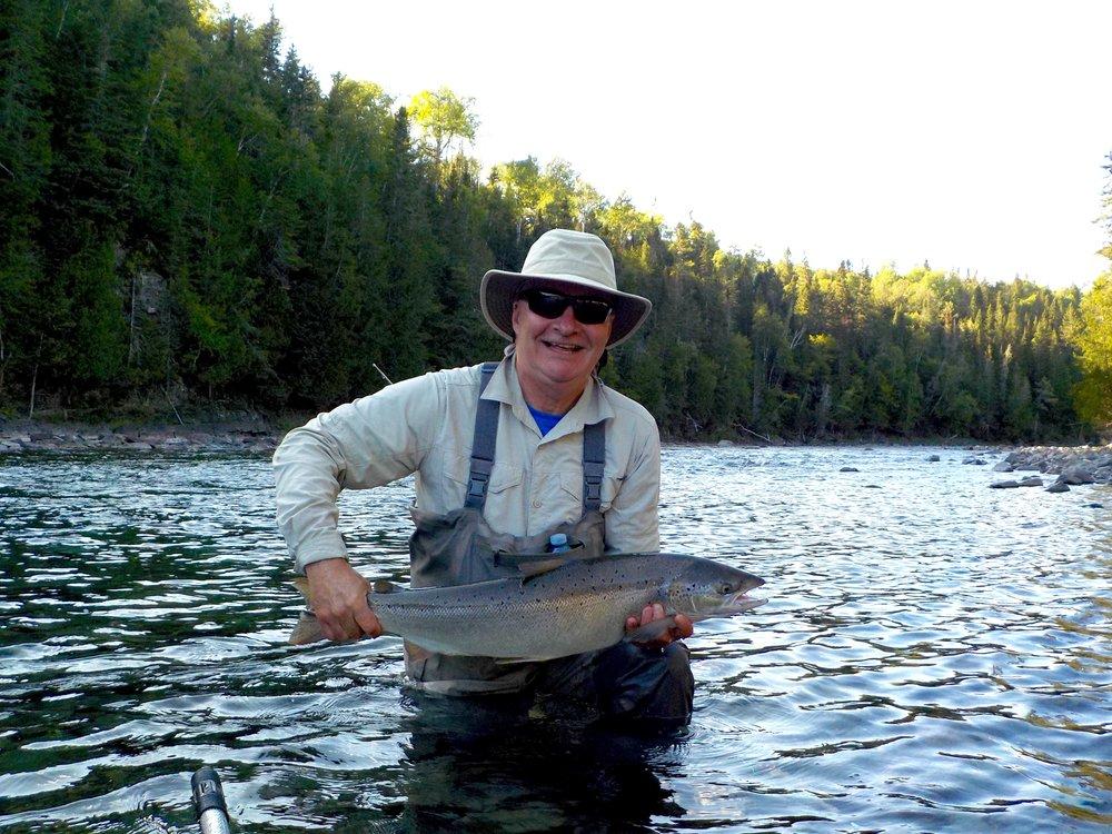 Serge Desrochers with a fine Bonaventure salmon , congratulations Serge!