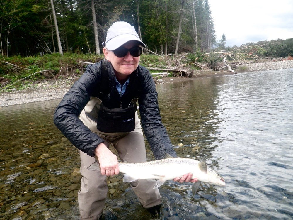 Congratulations to long time Camp Bonaventure friend Lori Sullivan, here she is with a nice Petite Cascapedia Salmon. Nice one Lori!