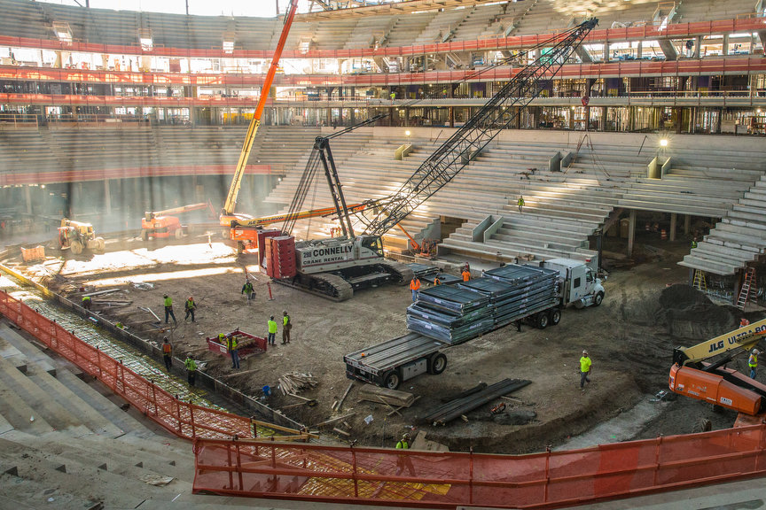 Construction of Little Caesars Arena in Detroit