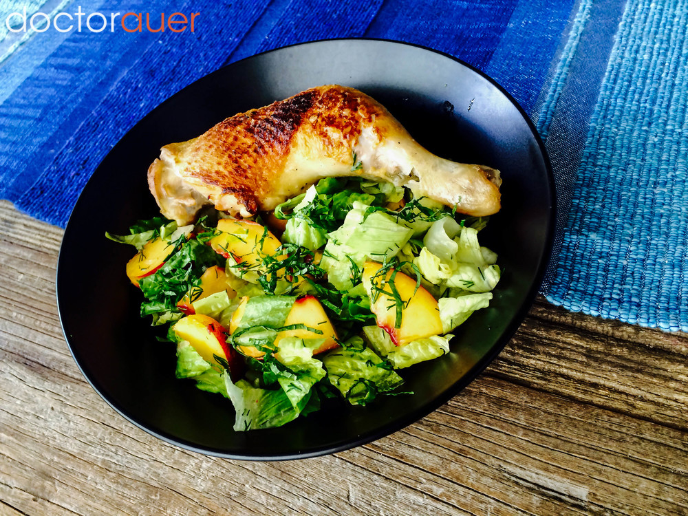 Roasted Chicken Leg           with Peach Herb Salad