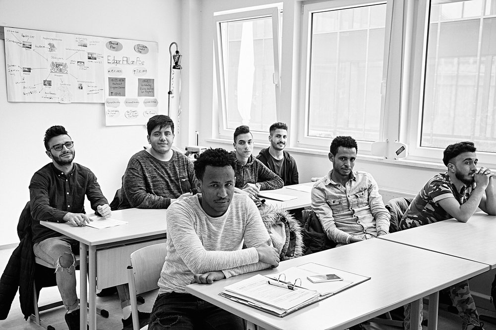 "Refugee students from Eritrea and Syria in an ""integration class"" at the vocational school in Kaufbeuren"