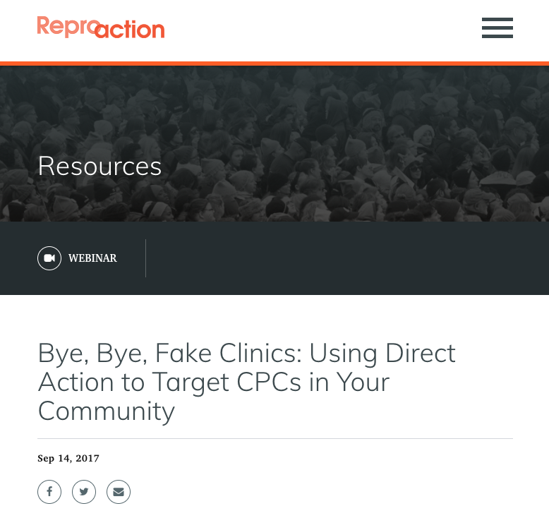 Webinar on CPC Activism from ReproAction, 1 in 3 Campaign, and Lady Parts Justice League