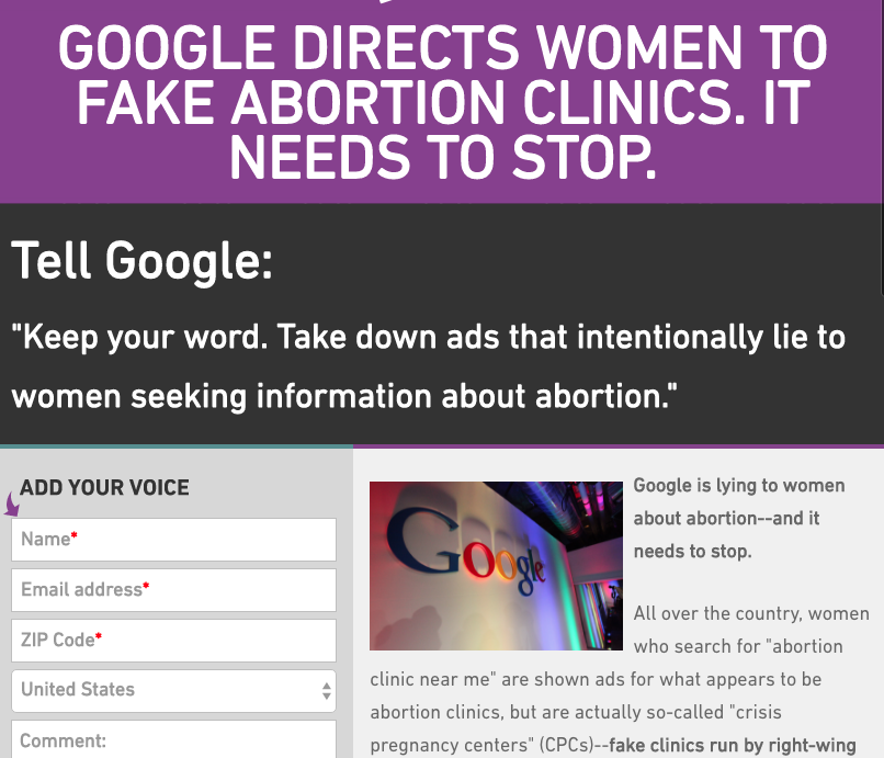 Google Fake Clinics Campaign