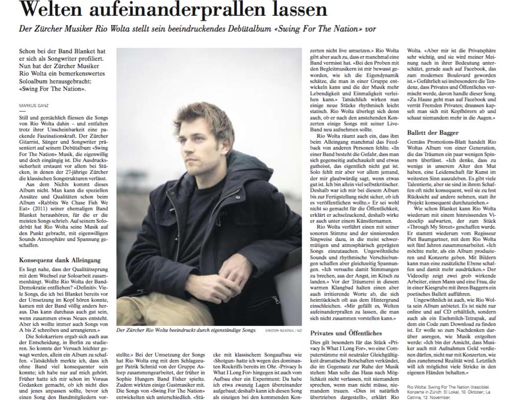 Neue Zürcher Zeitung, 9.10.2015