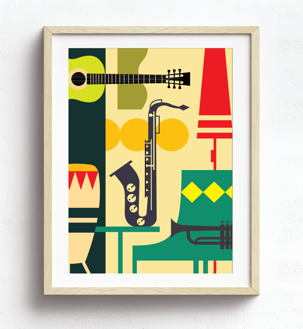 "MarioSiART - ""the Retro Music Room"" Graphic Art Print"
