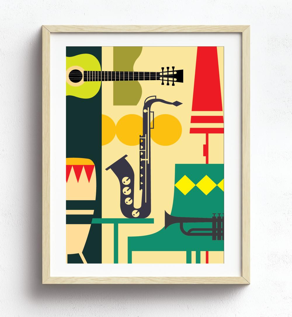 "MarioSiART - ""the Retro Music Room"" Graphic Art Print"