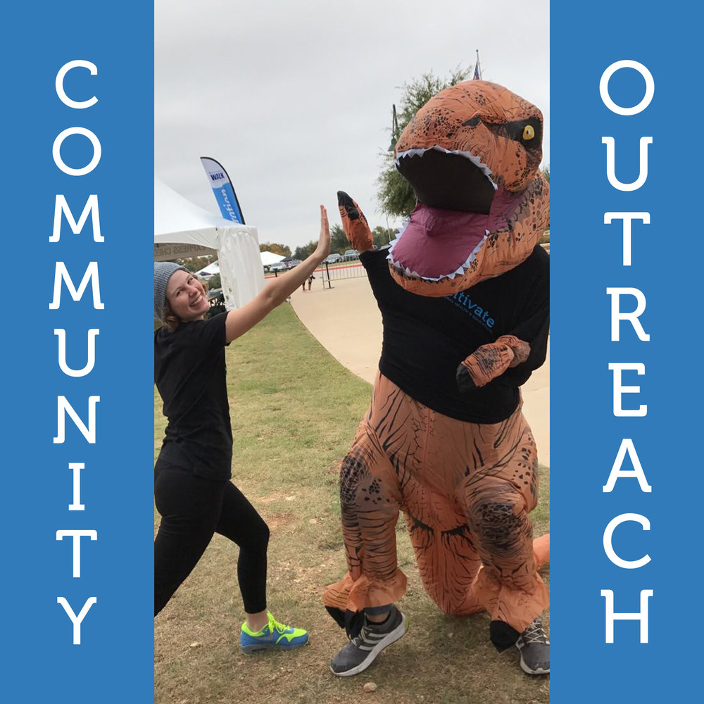 Community Outreach   The Autism Speaks' WALK and the Autism Society's AutFest are just a couple events we love to be involved with!  We believe its important to support the autism community by helping raise dollars and awareness.