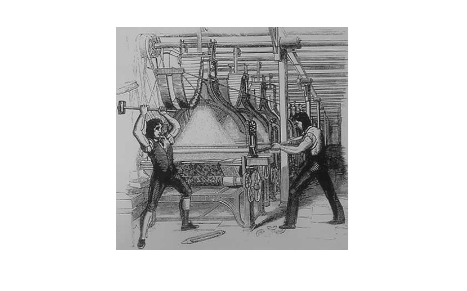 Luddites destroying looms in the 1800s to protest the Industrial Revolution