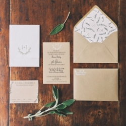 Vermont Wedding Invitations-Embossed on Kraft paper