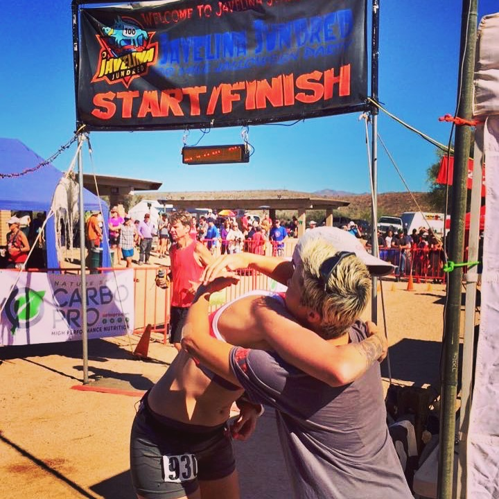 I needed a hug. Thanks Laura for providing one. Photo by UltraSportsLive