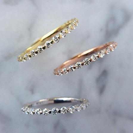 thin dainty diamond wedding bands