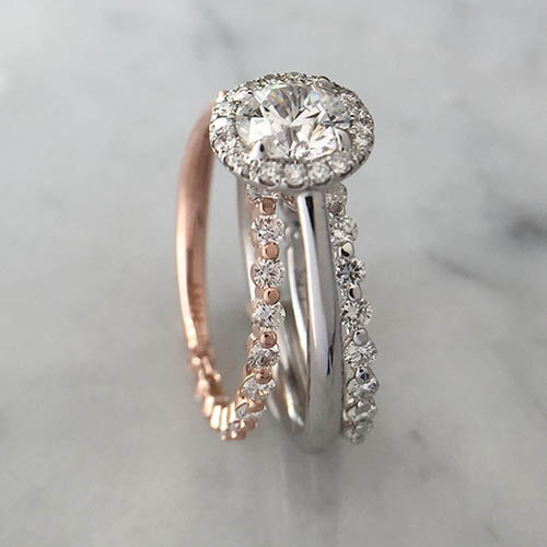 mismatched diamond wedding band with engagement ring
