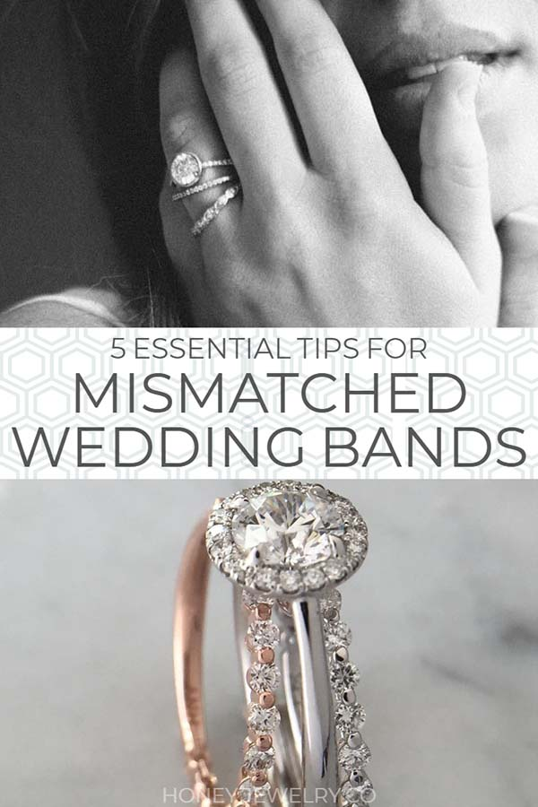 mismatched wedding band rings pin