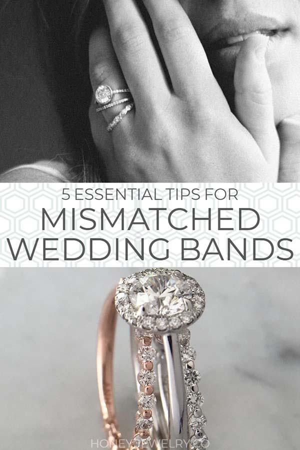 mismatched wedding band rings pin