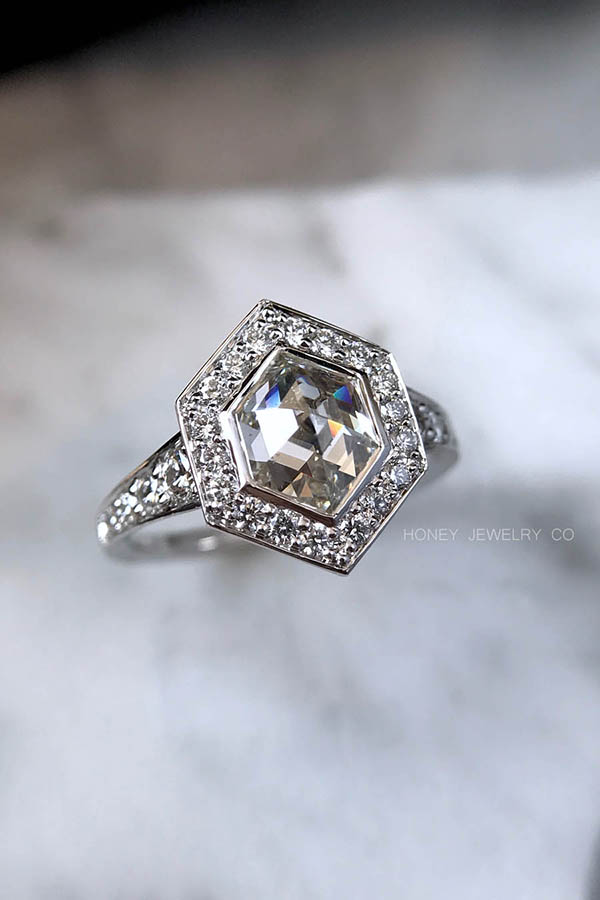 Hexagon Rose Cut Diamond Engagement Ring