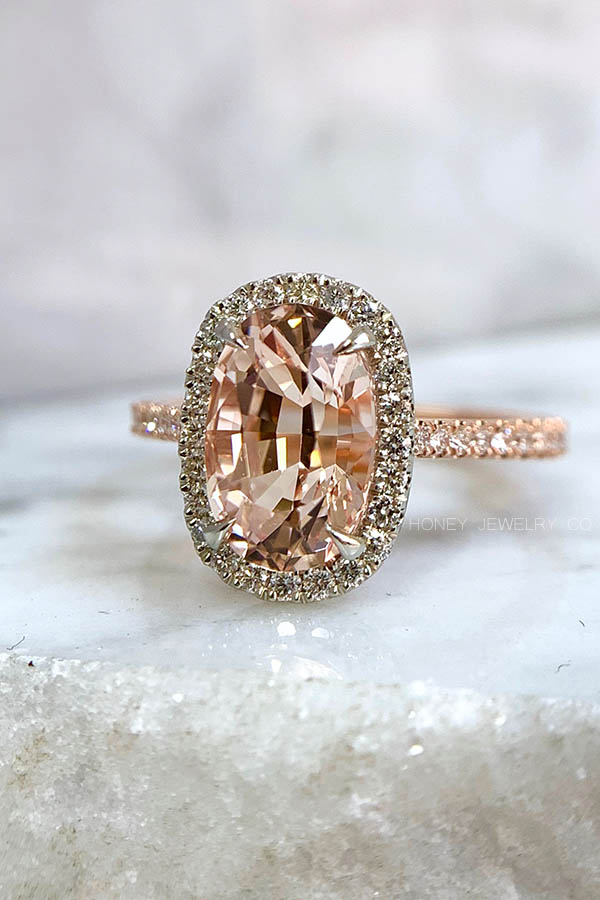 Peach Morganite Halo Engagement Ring in Rose Gold