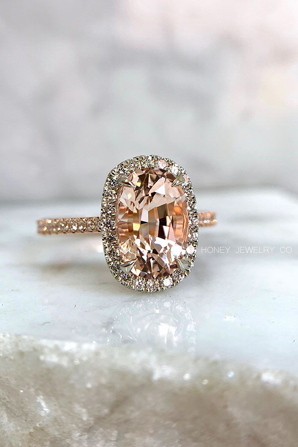 Peach Morganite Engagement Ring with a White Gold Diamond Halo & 14k Rose Gold Band
