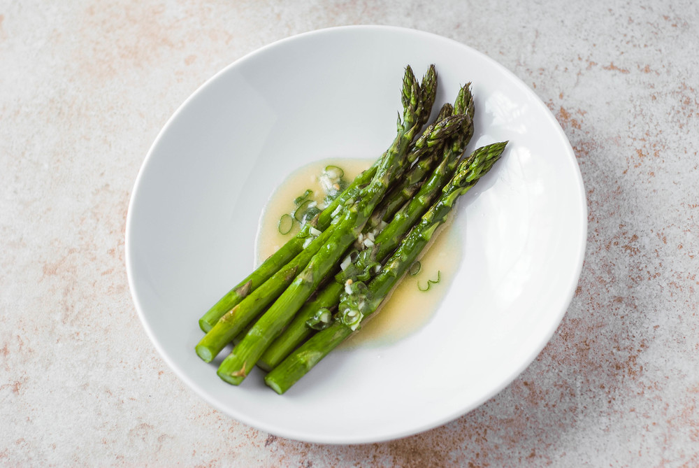 Roasted Asparagus with Wasabi Vinaigrette. Photo by Jenny Dorsey.