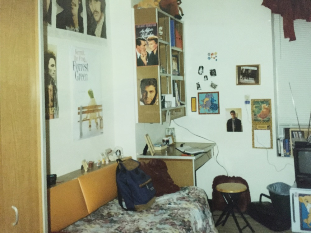My dorm room at SFA University.  I was deep into The Beatles, and the first movie James and I had seen together was The Lion King.  I have no defense for the George Clooney pictures.