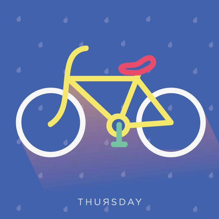 """jueves de: """"me agarro la lluvia en la bici"""" //  patricia piña // 40 minutos."""