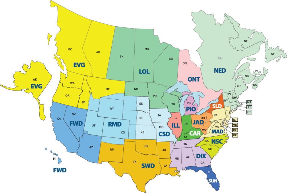 17  BHS  districts  -  in the usA &  canada
