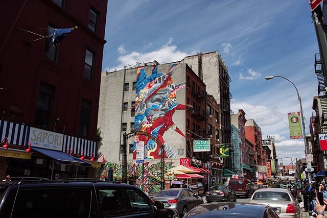 One of many incredible pieces of street art in Little Italy. #vsco #vscocam #vsconewyork #vsconyc #vscogood #travel #adventure #explore #wanderlust #NYC #newyork #thebigapple #littleitaly #streetart #architecture #cityscape #nikon #d810 #travelersnotebook #igersnyc #igers #summer #sunny