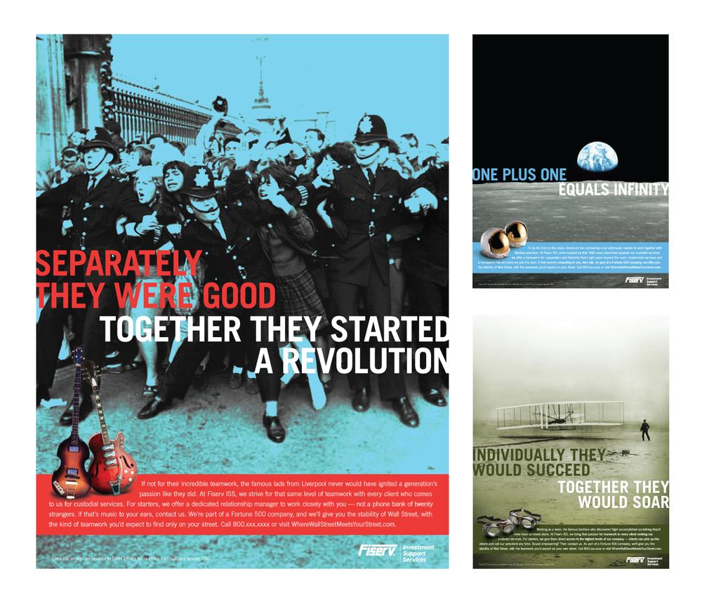 Client: Fiserv  Agency: Karsh Hagan  Print Campaign, Concept, Art Direction and Design