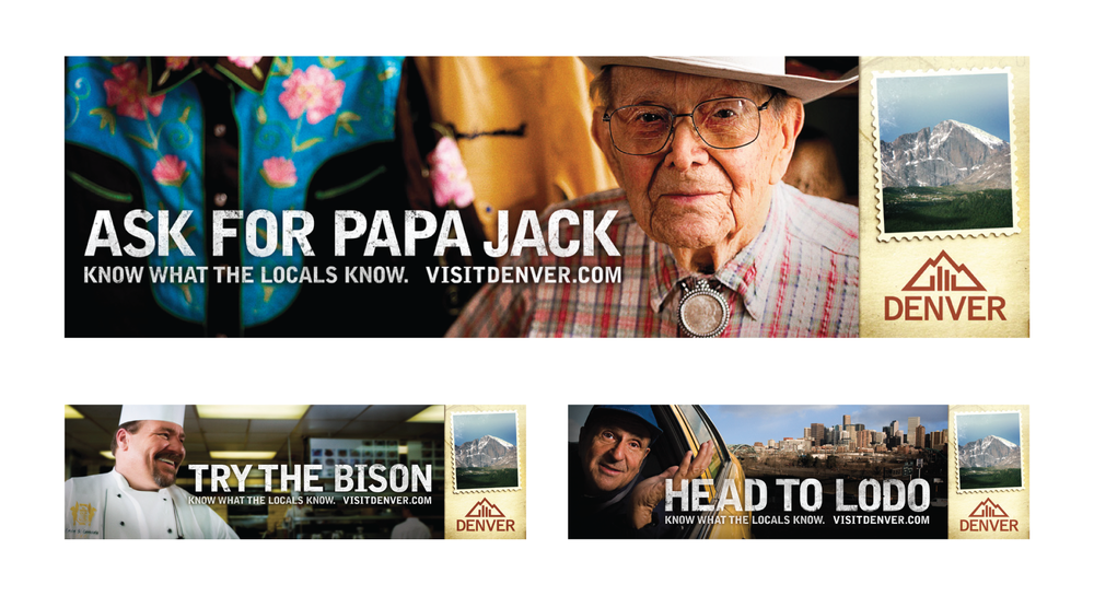 Denver Metro Convention and Visitors' Bureau. Papa Jack founded Rockmount Western Wear. There's the head chef at the Brown Palace. And that's Jack. He plays the trumpet in his taxi.