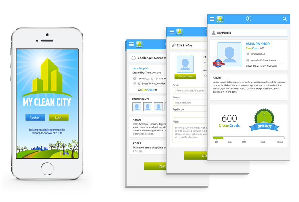 My Clean City™ Mobile App Designs