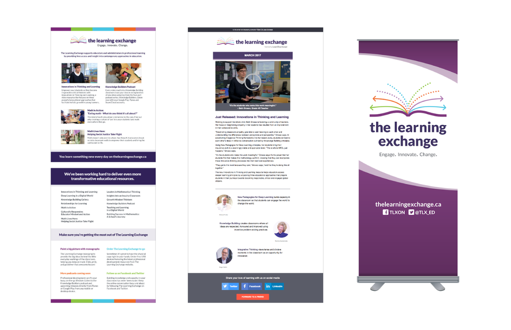 The Learning Exchange  | Visual identity update. Marketing collateral: Flyer, digital newsletter, banner (An initiative with the Ontario Ministry of Education)
