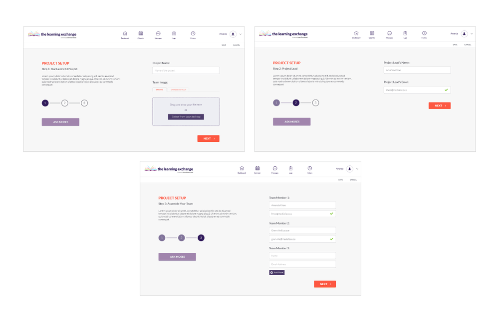 Collaborative Inquiry Tool | Wireframes, low and high fidelity mockups, UX/UI, web design